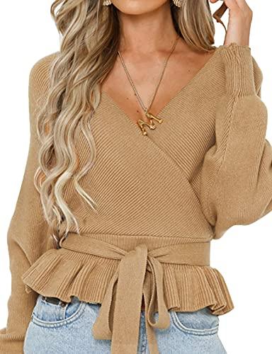 ZESICA Women's Wrap V Neck Long Batwing Sleeve Belted Waist Ruffle Knitted Sweater Pullover Top,Camel,Medium