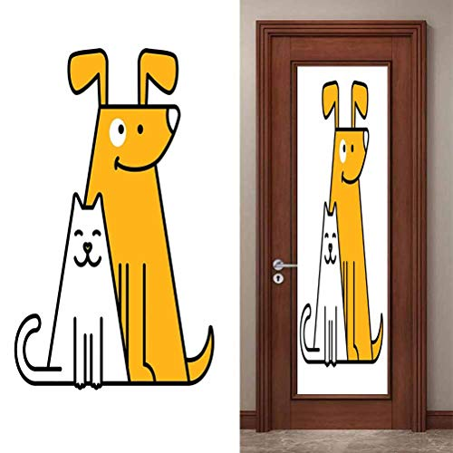 Self Adhesive Peel and Stick Vinyl Door Stickers Mural Wall Sticker, Cartoon Cats and Dogs Human Best Friends, Removable Self Adhesive Wall Decal for Home Decoration, W23.6 x L78.7 Inch