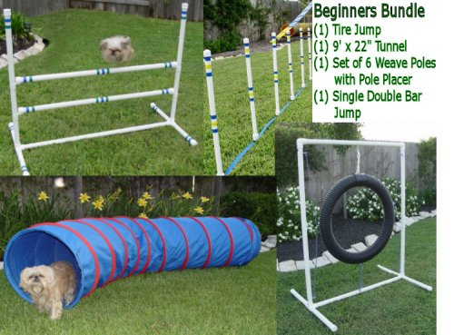 Weave Poles Dog Agility Equipment - Tire Jump, Single Jump & Tunnel - Beginners Bundle/Package