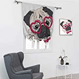 GugeABC Pug Window Blinds and Shades, Fashionable Dog with Heart Shaped Glasses and Dotted Bow Tie I Love Pugs Drawing Balloon Valance Drape, Pink Grey White, 42' x 72'