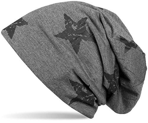 styleBREAKER styleBREAKER Beanie Mütze mit Sterne Print im Destroyed Vintage Look, Unisex 04024041, Farbe:Dunkelgrau
