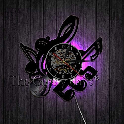 xcvbxcvb Musician Music Notes Wall Art Decoration Clock Handmade 3D Vinyl Record Wall Clock Home Decor 12'' Cut-Out LP Clocks