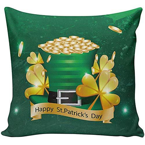 Kussensloop 45 * 45cm Goud Shamrock Patroon Happy St Patrick's Day Kussensloop Satijn Stof Thuis Decoratieve Kussensloop Kussensloop