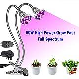 Plant Lamp, Derlights 60w LED Grow Lamp, Full Spectrum Dual Head Grow...
