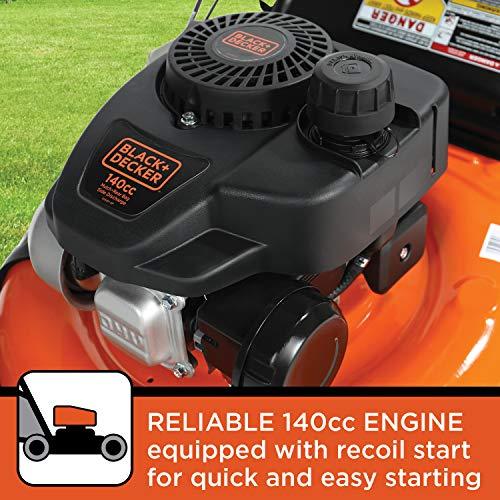 BLACK+DECKER 21 Inch 140cc 3-in-1 Gas Powered Walk Behind Push Mower - Side Discharge, Mulching, and Bagging Capabilities, Black and Orange