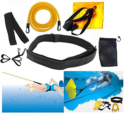 YQZ Cinturones de Entrenamiento de natación Ajustables de 3M, Bandas de Resistencia de natación estacionarias de Amarre de natación, Cinturón de natación estático de arnés de natación
