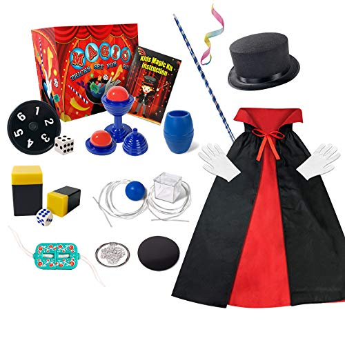 Kids Magic Kit, Magic Tricks Gifts for Age 3 4 5 6+ Years Old Boys Girls Toddlers, Beginners Easy Magic Set Included Magic Wand, Top Hat, Fancy Dress & Much More, Novelty Magic Props (Magic Kit)