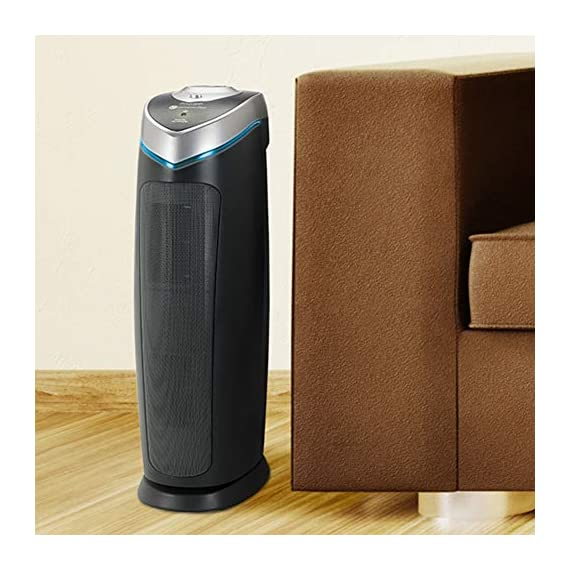 Germ Guardian True HEPA Filter Air Purifier with UV Light Sanitizer, Eliminates Germs, Filters Allergies, Pollen, Smoke… 8 4-in-1 air purifier for home: True HEPA air filter reduces up to 99.97% of harmful germs, dust, pollen, pet dander, mold spores, and other allergens as small as .3 microns from the air Kills germs: UV-C light helps kill airborne viruses such as influenza, staph, rhinovirus, and works with Titanium Dioxide to reduce volatile organic compounds Traps allergens pre filter traps dust, pet hair, and other large particles while extending the life of the HEPA filter. Bulb wattage is 55 watts