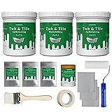 NADAMOO Bathtub Refinishing Kit DIY Sink Tub and Tile Repair Kit, For Porcelain Enamel Acrylic Fiberglass, Easy Pour-on Application, Semi-matte White Bright Tub Coating - 3kg (Standard Bathtub Kit)