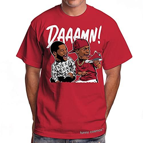 Daaamn Meme T Shirt to Matching Red White Sneakers Shirts Matching Jordan 13 Red Flint Sneaker Tshirt Men T-Shirt (L, Red)