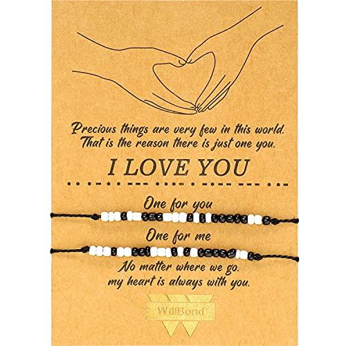 Pulsera Código Morse de San Valentín Regalo Pulsera de Familia Pareja de Amistad de I Love You...