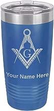 20oz Tumbler Mug, Freemason Symbol, Personalized Engraving Included (Dark Blue)