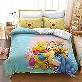 DWSM - Juego de cama infantil de Winnie the Pooh – Funda nórdica + 1/2 fundas de almohada, 100% microfibra, gruesa y suave, multicolor, (12,140 x 210 cm)