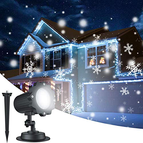 OOFAN Proiettori Luce Natalizie Neve Bianca Flurries Rotating Snowfall Spotlight careslong Fiocchi di Neve Decorativi Spotlight di Paesaggio LED Riflettore per Illuminazione Interno Esterno