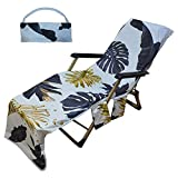 Lounger Cover Beach Towel with Side Storage Bag Foldable and Easy to Carry Lawn Chair for Sunbathing in Garden Hotels and Resorts