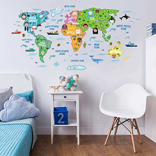 WALPLUS - Mapa del Mundo Educativo de guardería, Texto Puede no Estar en español, Extraíble y Autoadhesivo, 180x 106cm