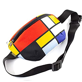 Casual Daypack Mondriani art canvas Crossbody Bag Belt Waist Packs Waist Pocket Adjustable belt bag famous art canvas for travellers  Red Blue