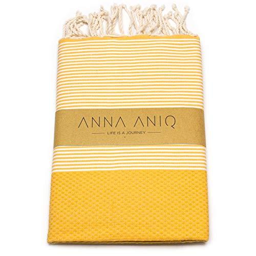 ANNA ANIQ Premium Fouta Hamamtuch Saunatuch Strandtuch XXL Extra Groß 200 x 100cm - 100% Baumwolle aus Tunesien, orientalisches Bade-Tuch, Yoga, Pestemal, Strand-Handtuch (Gelb)