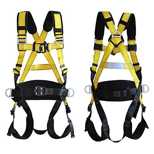 ZPCSAWA Kit de Arnés de Escalada para La Todo el Cuerpo, Cinturón de Seguridad Ajustable de 5-Puntos con Cuerda y Ganchos para Trabajos Aéreos de Rescate de Incendios