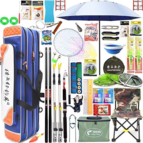 YROD Fishing Rod, Super Harde Lichtgewicht Telescopische Reel Combos Rock Sea Hand Pole, Karper Tilapia Vislijn, Wiel, Paraplu, Stoel, Volledige Set van Accessoires