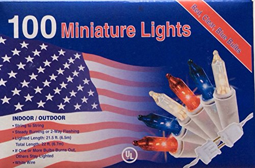 Nantucket 100 RED White Blue Lights Minature July 4th Christmas Mini Indoor/Outdoor