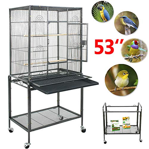Nova Microdermabrasion 53 Inches Large Bird Cage Parrot Cockatiel Parakeet Macaw Cage W/Stand Perch Wrought Iron Pet Supplies