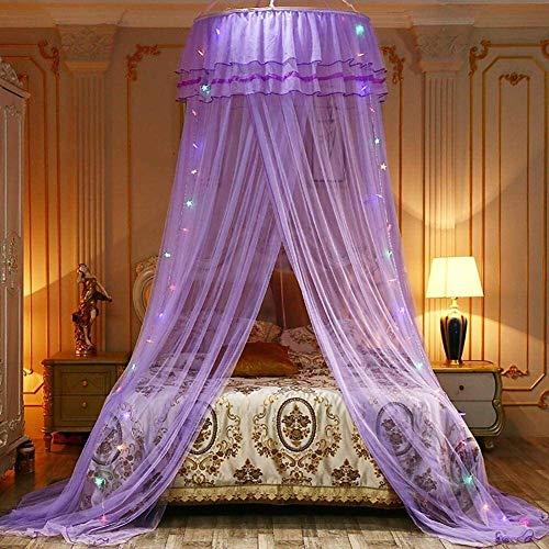 Spitze Moskitonetz Handfly Himmelbett mit bunten Led Lichterketten, Prinzessin Bett-Überdachung-Moskito-Netz-Bett-Spiel-Zelt Raumdekoration for Kinder Kinder-Baby (Color : Purple)