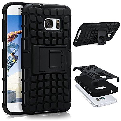 ONEFLOW® Tank Case kompatibel mit Samsung Galaxy S7 Outdoor Hülle | Panzer Handyhülle mit Ständer - 360 Grad Handy Schutz aus Silikon & Kunststoff, Schwarz
