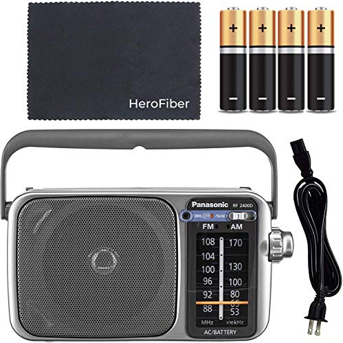 Panasonic Portable AM/FM Radio with Best Reception, Led Tuning Indicator, Cleaning Cloth and 4 AA Batteries