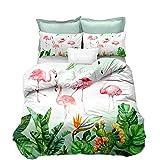 Loussiesd Flamingo Bettwäsche Set Weiß & Grün Kaktus Bettbezug mit 1 Kissenbezug 2 teilig 155x220cm+80x80cm Weiche Atmungsaktive Polyster Betten Set mit Reißverschluss, Tropische Pflanzen Flamingo