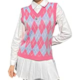 Women's V Neck Knitted Sweater Vest Y2K Argyle Plaid Preppy Style Sleeveless Crop Knitwear Tank Top (Pink, Small)