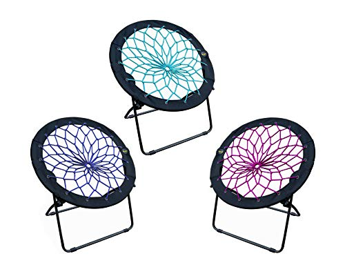 Zenithen Limited Bungee Dish Chairs- (Pack of 3) (Teal, Plum, Indigo)