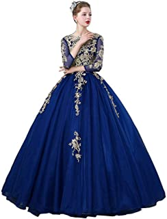 70d444b75 BINGQZ Vestido Fiesta Noche Coctel Casual Vestidos de quinceañera Azul Real  Mangas Tres Cuartos