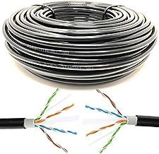 Mr. Tronic 100m Cable de Instalación Red Ethernet Bobina para Exterior | CAT6, AWG24, CCA, UTP | Color Negro (100 Metros)