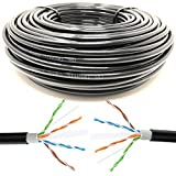 Mr. Tronic 50m Cable de Instalación Red Ethernet Bobina para Exterior | CAT6, AWG24, CCA, UTP | Color Negro (50 Metros)