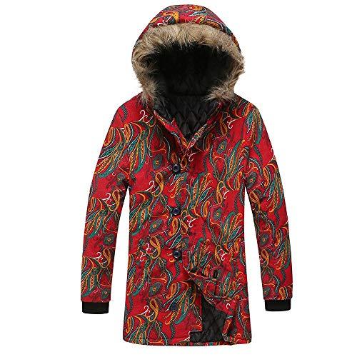 XWLY Jacke Herren Mit Kapuze Lange Kapuzenmantel Herbst Und Winter Warm Mode Lässig Komfortabel Vintage Mantel Herren Ethnischer Stil Reißverschluss Jacke -F-Red XL