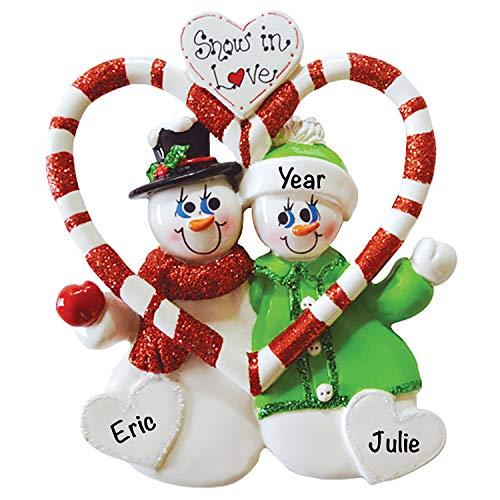 Candy Cane Love Couple Christmas 2021 Ornament – Charming Personalized Christmas Ornaments for Couples –, Lightweight Custom Christmas Ornament – Polyresin Couple Ornament 2021