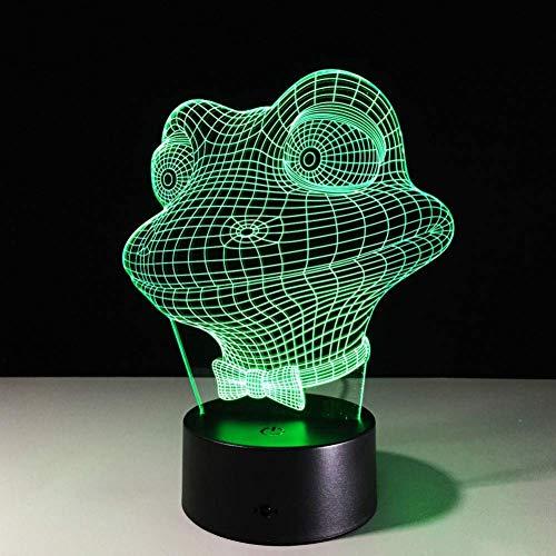 3D LED nachtlampje kikker schattig 7 wisselende kleuren nachtlampje nachtlampje lamp voor kinderen in bed