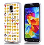 Galaxy S5 Case & MUQR Slim Silicone Rubber Protective Cover Replacement Compatible for Samsung Galaxy S5 Funny Personalized Emoji Pattern