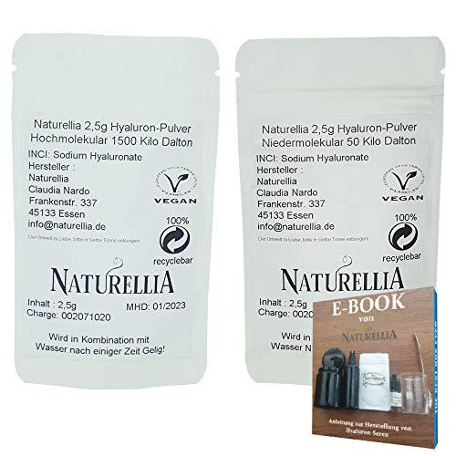 Naturellia 2,5g Hochmolekulare + 2,5g Niedermolekulare Hyaluron-Säure Pulver hochdosiert 1500 Kilo-Dalton + 50 Kilo-Dalton Hyaluronic Acid Powder zur Herstellung einer Anti-Aging Face-Cream