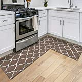 DEXI Kitchen Rugs and Mats Cushioned Anti Fatigue Runner Rug Waterproof Standing Mat 2 Piece...