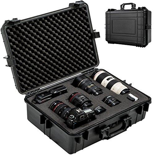 La valigetta d'alta qualità per macchina fotografica di TecTake è perfettamente idonea per il trasporto di videocamere, macchine fotografiche digitali e analogiche, diversi apparecchi di misurazione e armi // Dimensioni totali (lungh. x largh. x h): ...