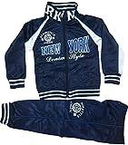 Generic Kinder Jungen Mädchen Trainingsanzug Sportanzug Jogginganzug Hose Jacke New York (Dunkle Blau, 98/104)