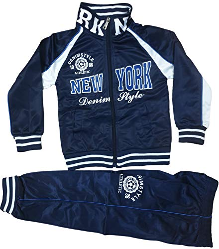 Generic Kinder Jungen Mädchen Trainingsanzug Sportanzug Jogginganzug Hose Jacke New York (Dunkle Blau, 140/146)
