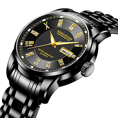 Horloges Heren Horloge High-End Zakelijke Nachtlampje Eenvoudige Staal Band Horloge Dubbele Kalender Waterdicht, Black_Strap_with_Black_Dial
