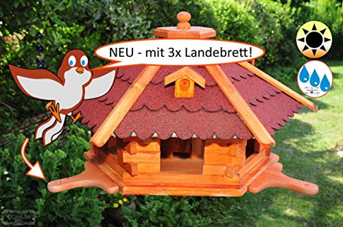 ÖLBAUM Premium Futterhaus-Vogelhaus, groß, XXL mit 3 x Anflugbrett/Landebahn (Hellbraun), Bitumendach rot robust, wetterfest