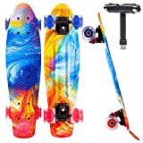 "JECOLOS 22"" Mini Cruiser Skateboard for Beginners Youths Teens Girls Boys (Hurricane)"