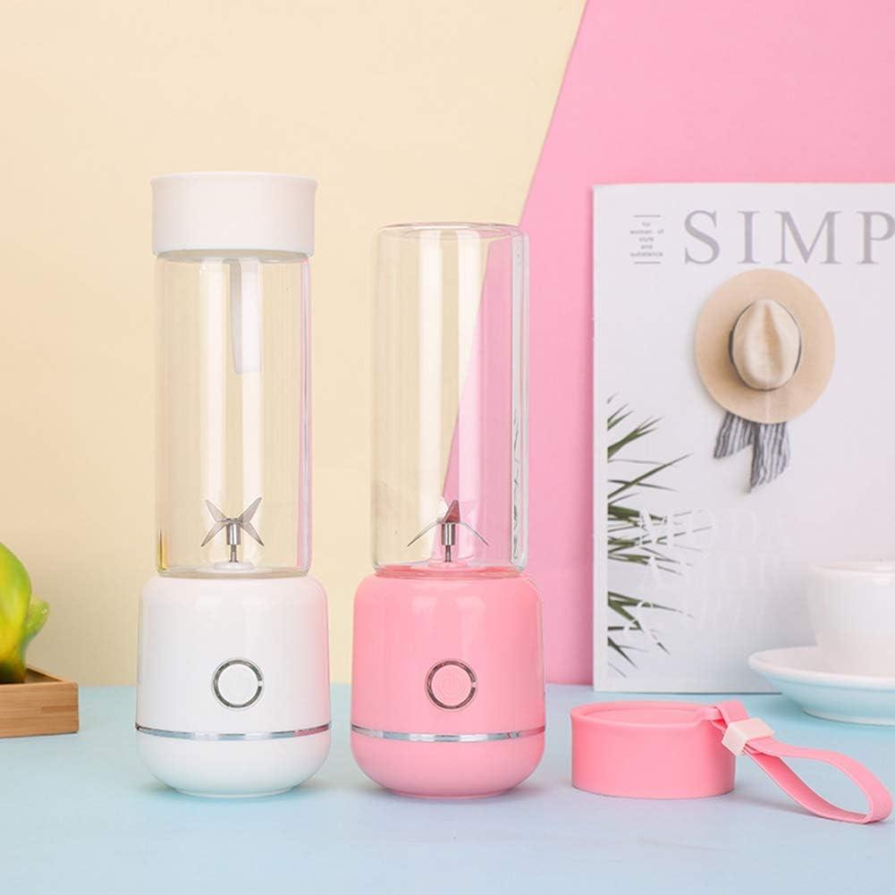 zyl Machine à jus de Fruits mélangeur de 350 ML de Smoothie pour jus et Smoothie Mini mélangeur Portable à Quatre Lames Rechargeable par USB Pink
