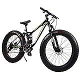 AISHFP Fat Tire Bicicletas de montaña para Adultos, Playa Moto de Nieve, Bicicletas de Doble Freno de Disco Crucero, Bicicleta de montaña para Hombre 26 Pulgadas Ruedas,Negro