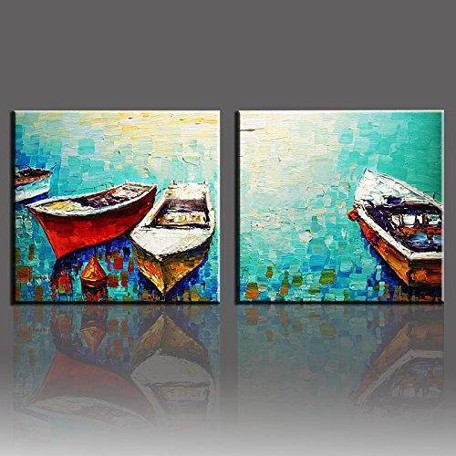 OilYY Pinturas al óleo pintadas a Mano Cuadros De Pared Hechos A Mano para Sala De Estar Agua con Barco 2 Panel Lienzo Pintado A Mano Pinturas Al Óleo Arte